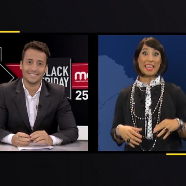 Jornal Black Friday Mega TV | Felipe Fonseca vestido de mulher | Personagem Mary Biju